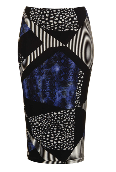 Lunchtime Buy: Topshop blue animal mix tube skirt