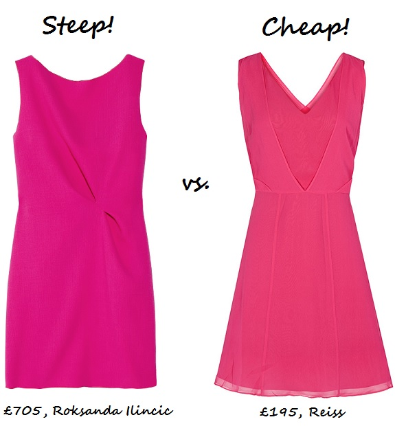 steep v cheap pink dress