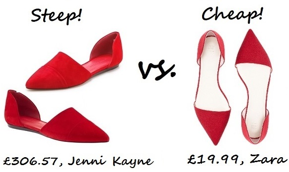 steep v cheap red shoe