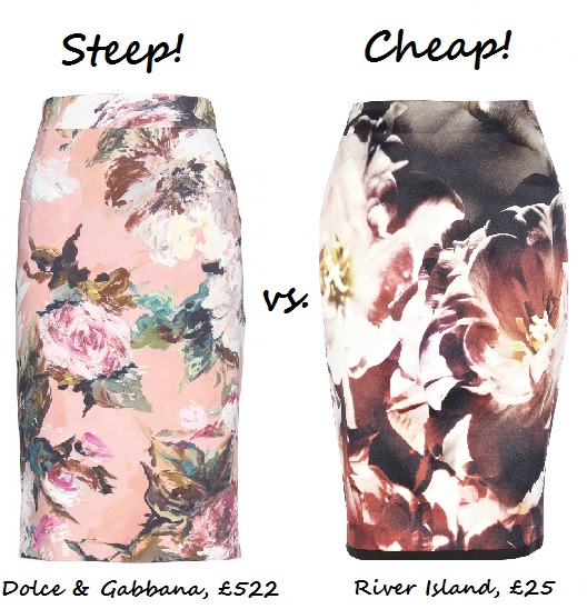 steep vs cheap floral pencil skirt
