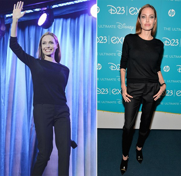Angelina Jolie in all-black Saint Laurent