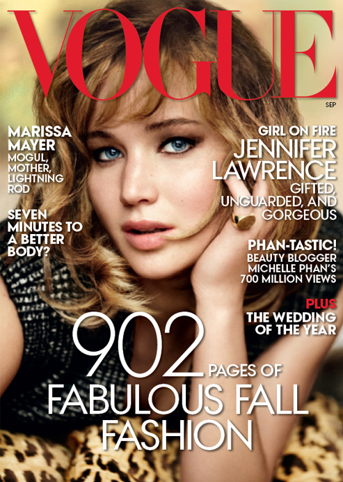 Jennifer Lawrence wears Calvin Klein for Vogue US September 2013 issue!