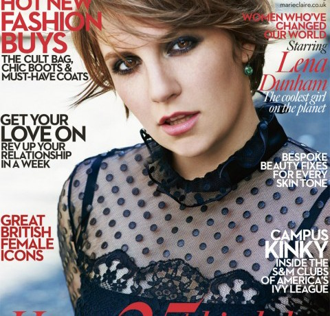 Girls' Lena Dunham covers Marie Claire UK's October 25th birthday issue