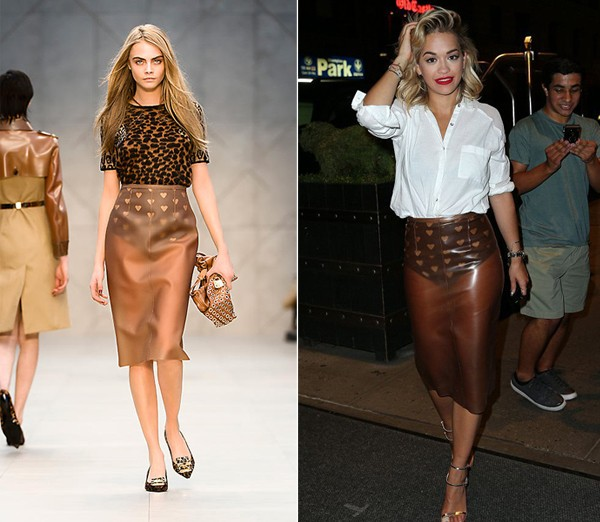 Rita Ora showcases her love of British fashion in Burberry rubber skirt