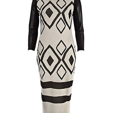 Lunchtime Buy: River Island beige leather look sleeve geometric dress