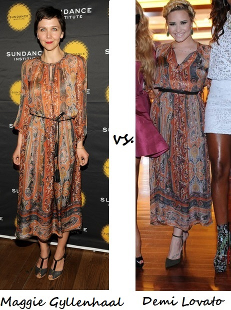 Maggie Gyllenhaal vs. Demi Lovato…Who wore Isabel Marant better?