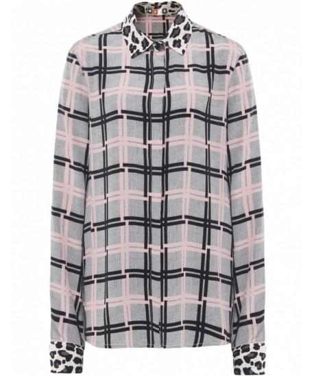 MSGM - Check & Leopard Print Shirt