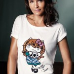 Helena Christensen designs and models Hello Kitty charity tee