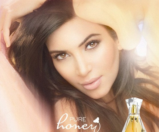 Kim Kardashian poses for her fifth fragrance, Pure Honey