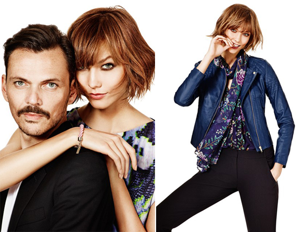 Matthew Williamson and Karlie Kloss pose for his Lindex collection