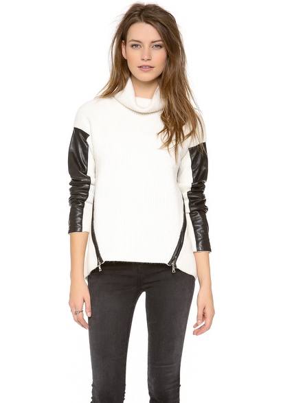 Lunchtime Buy: Milly leather sleeve turtleneck sweater