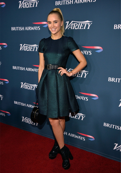 Suki Waterhouse flies the flag for British fashion in Mulberry dress