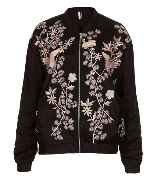 Lunchtime Buy: Topshop flower embroidered bomber jacket