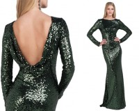 Editor's Pick: Badgley Mischka emerald sequin cowl back gown