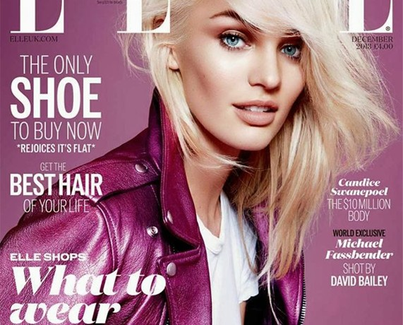 Candice Swanepoel wears Saint Laurent for Elle UK December cover