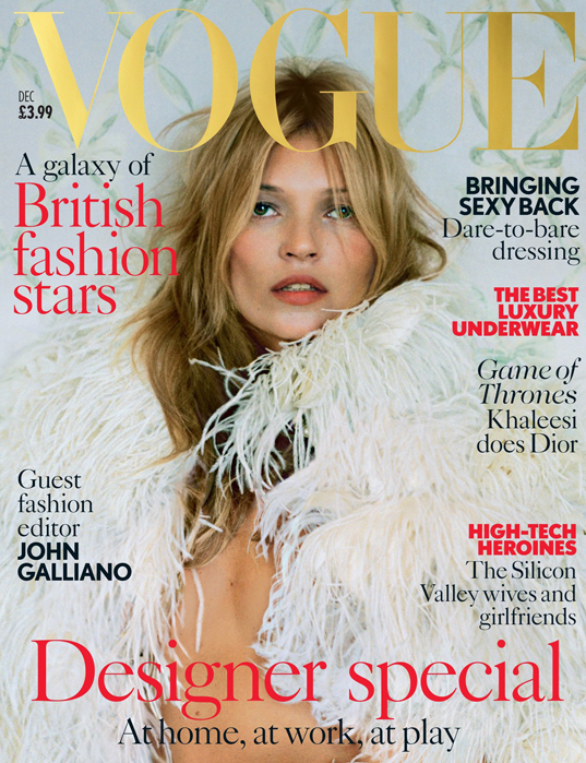 Kate Moss for British Vogue's December issue, guest edited by John Galliano
