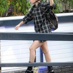 Lady Gaga tackles towering platform boots at recording studio