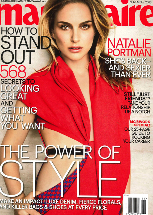 Natalie Portman wears cut-out Dior Couture for Marie Claire US November