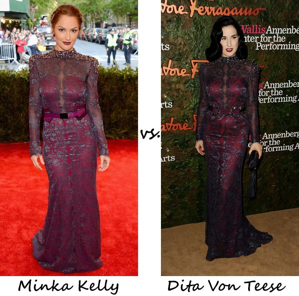 Minka Kelly vs. Dita Von Teese…Who wore Carolina Herrera better?