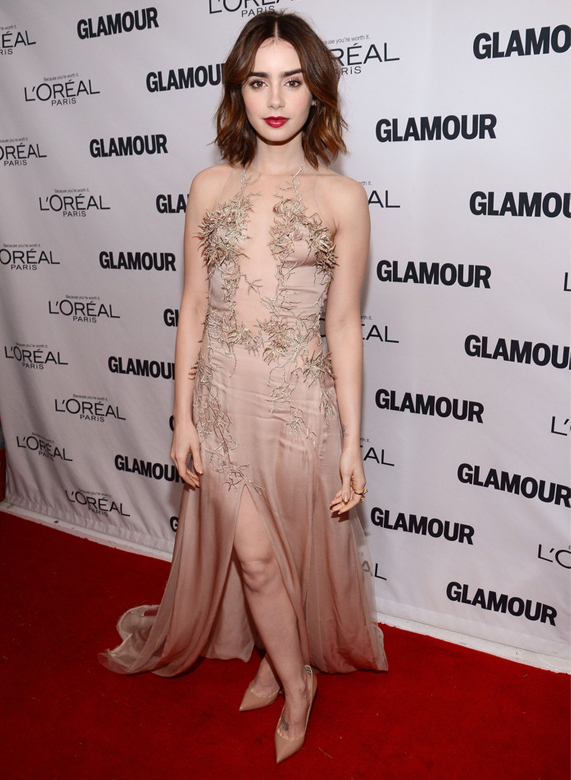 Lily Collins wows in Julien Macdonald for Glamour Women of the Year Awards