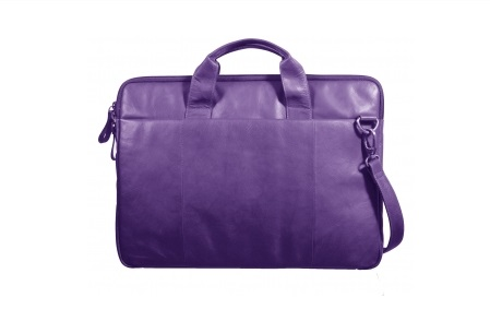 (Purple leather laptop bag, by Bolla Bags, at Teals Boutique)