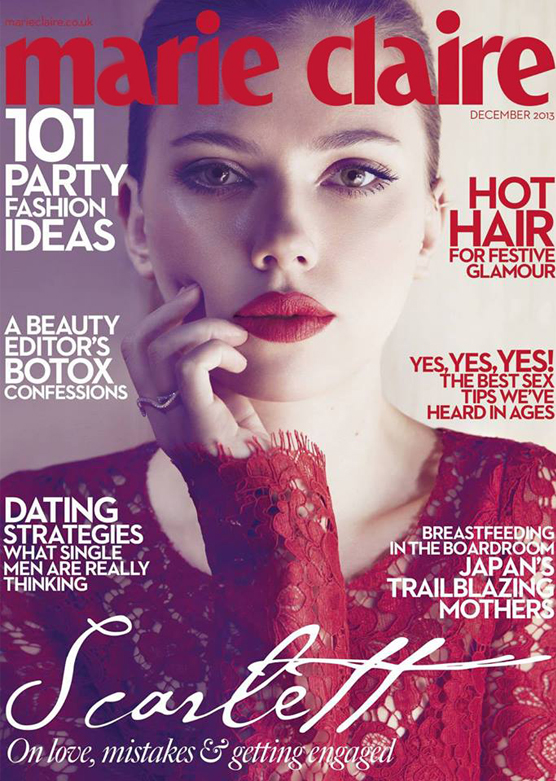 Scarlett Johansson rocks red Dolce and Gabbana for Marie Claire UK December