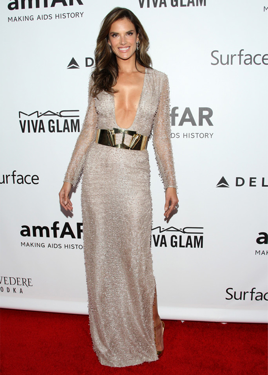 Alessandra Ambrosio shimmers in Hugo Boss for amfAR Gala
