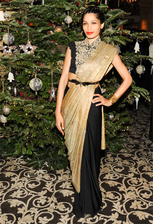 Freida Pinto wows in half sari half dress by Anamika Khanna