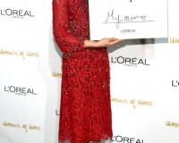 Lea Michele looks ultra festive in red Dolce and Gabbana dress