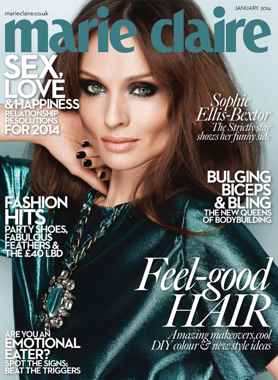 Sophie Ellis Bextor showcases her new sexy look on Marie Claire UK January