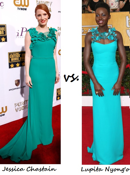 Jessica Chastain vs. Lupita Nyong'o…Who rocked the statement neck better?