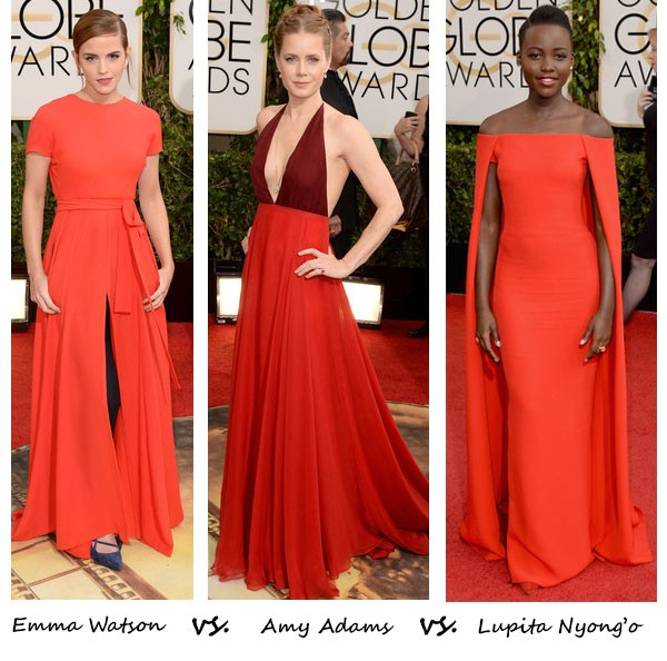 Emma Watson vs. Amy Adams vs. Lupita Nyong'o…Who wore red best at the Golden Globes?