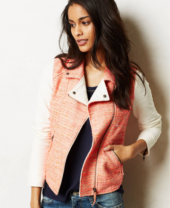 Lunchtime Buy: Anthropologie blushed tweed moto jacket