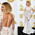 Beyonce shows off her body in Michael Costello in the Grammys press room