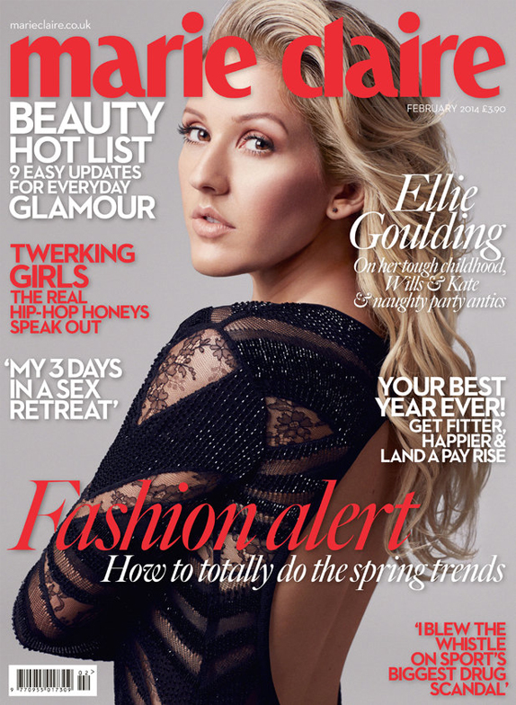 Ellie Goulding covers Marie Claire UK February, says Wills and Kate are awesome