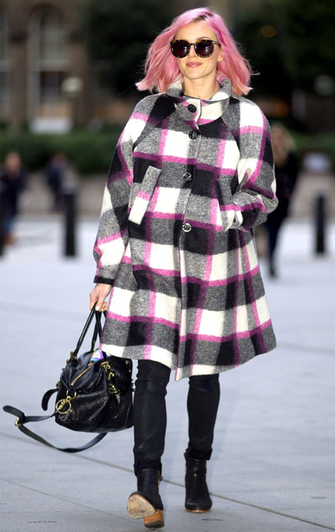 fearne-cotton-check-coat-pink-hair