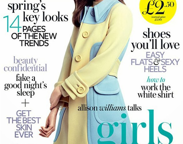 Allison Williams is pastel pretty in Miu Miu for InStyle UK February