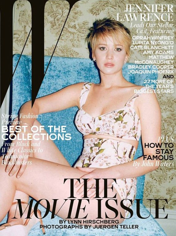 "Jennifer Lawrence covers W's February issue, blames ""cake"" for Oscars fall"