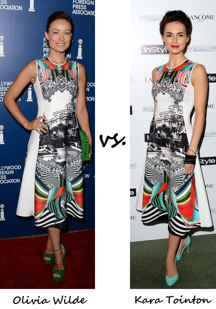 Olivia Wilde vs. Kara Tointon…Who wore Clover Canyon better?