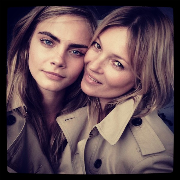 Kate Moss and Cara Delevingne pose together for Burberry fragrance
