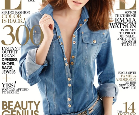 Emma Watson covers Elle US April in Balmain jumpsuit