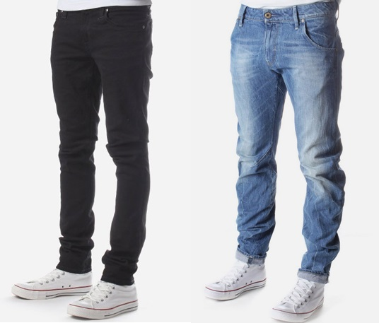 From left to right (Nudie Slim Jeans, Black, £89)		(G-Star Raw Slim Jeans, Light Wash, £90)