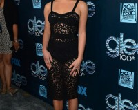 Lea Michele does exposed underwear right at Glee 100th episode celebration