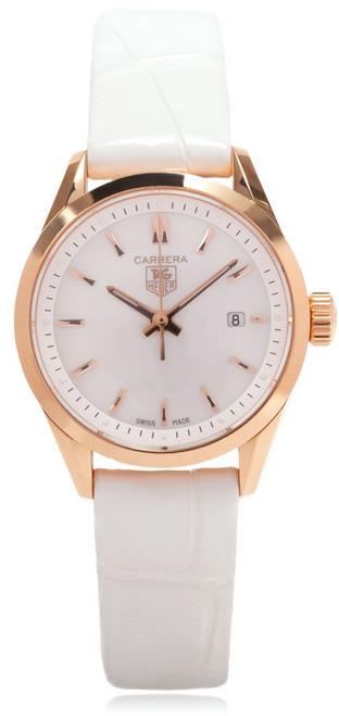 TAG Heuer Carrera 18-Carat Rose Gold White Strap Ladies Watch WV1440.FC8179- full view