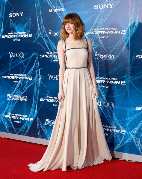 Emma Stone looks breathtaking in Prada for The Amazing Spider-Man 2 New York premiere