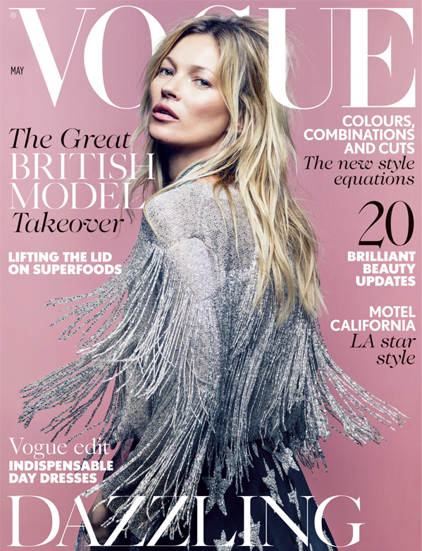 Kate Moss models her Topshop collection on British Vogue's May issue
