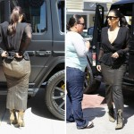 Kim Kardashian gets it so wrong  in an unflattering 'bin liner' skirt
