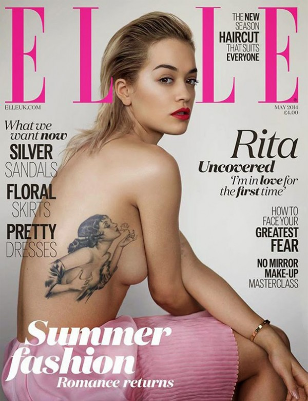 A topless Rita Ora and her tattoo cover Elle UK's May issue