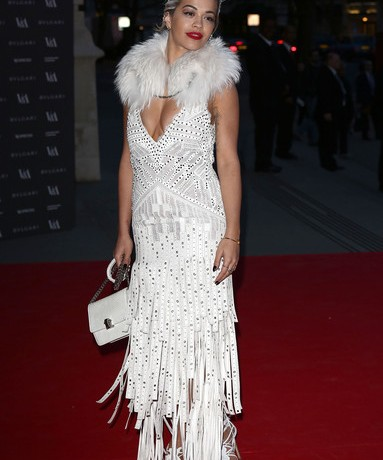 Rita Ora wows in white Roberto Cavalli at  London's Victoria & Albert Museum