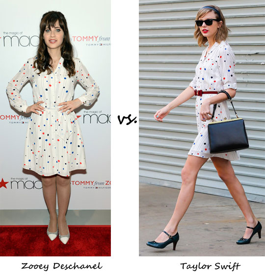 Zooey Deschanel vs. Taylor Swift…Who wore Tommy Hilfiger better?